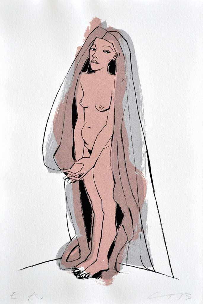 """Die Arbeit """"Mit langem Haar"""" ist eine Serigrafie der Dresdner Künstlerin Gudrun Trendafilov."""