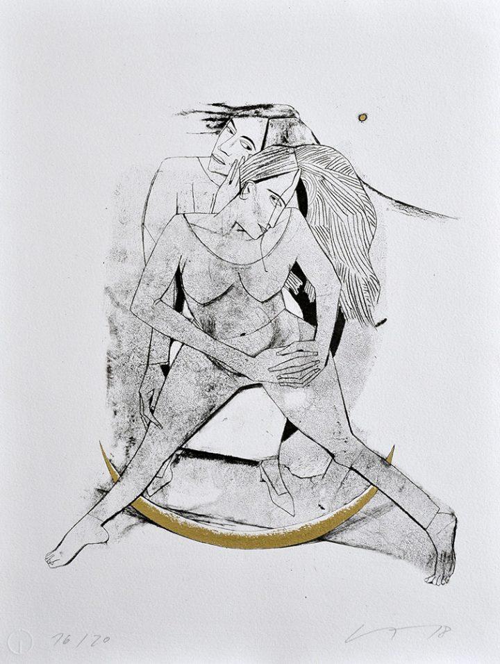 """Eine, von der Malerin Grundrun Trendafilov gestaltete, vergoldete Algrafie mit dem Namen """"Mondsichel"""""""