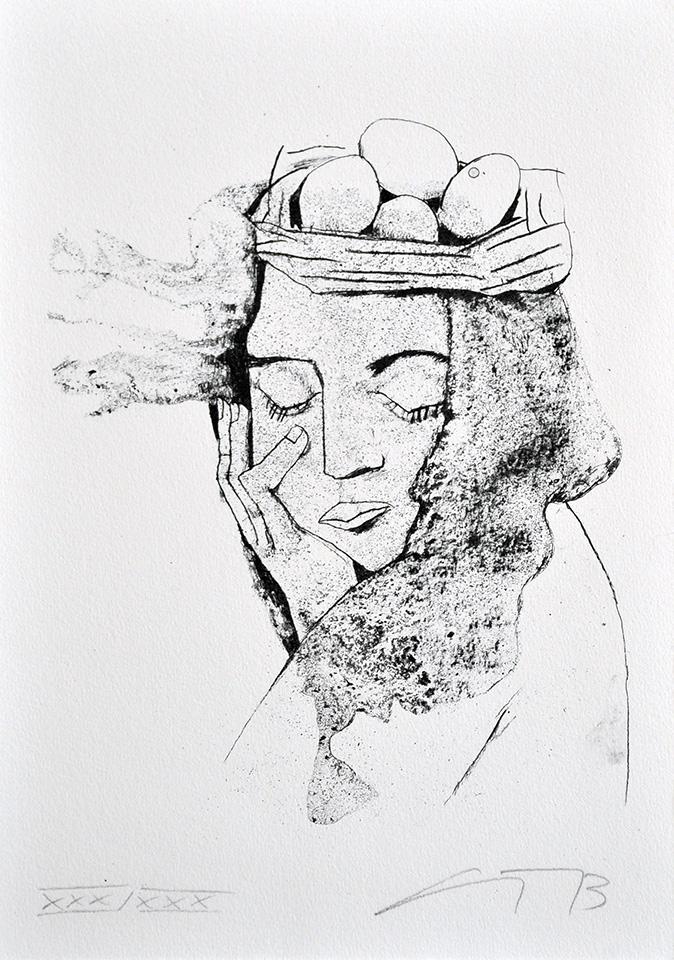 """Algrafie """"Nest auf dem Kopf"""" der Künstlerin Gudrun Trendafilov"""