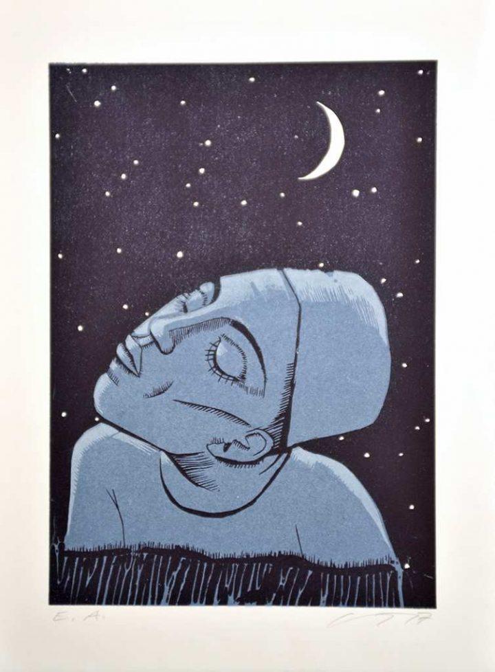 """Die farbige Serigrafie """"Mit Mond"""" wurde 2017 von der Künstlerin Gudrun Trendafilov gestaltet."""