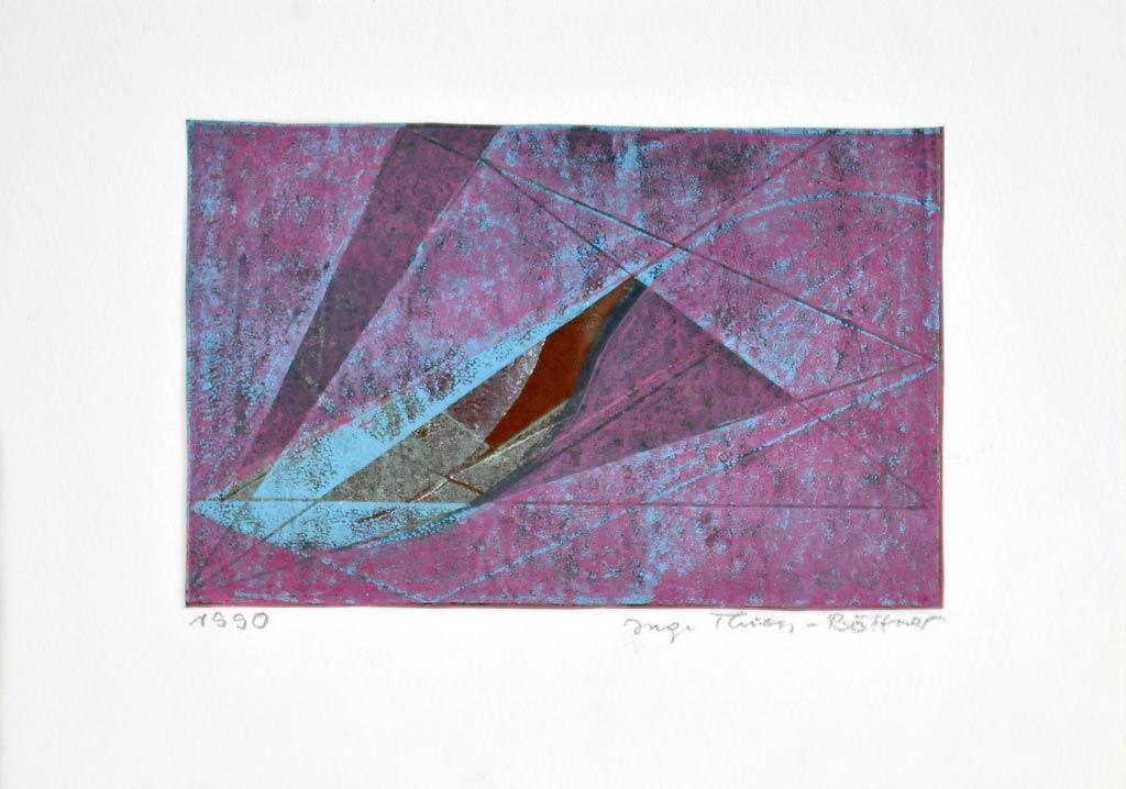 unikater Linoldruck der Künstlerin/Grafikerin Inge Thiess-Böttner