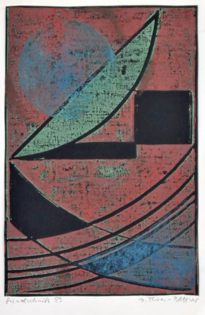 unbetitelter Linoldruck der Künstlerin Inge Thiess-Böttner