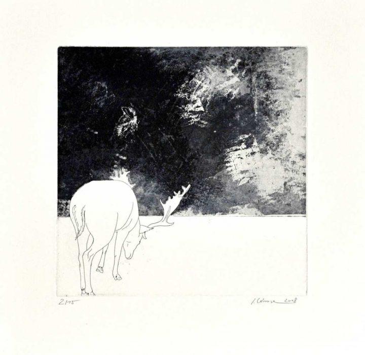 """Eine Radierung """"Ohne Titel"""" der Künstlerin Isabell Kirmse"""