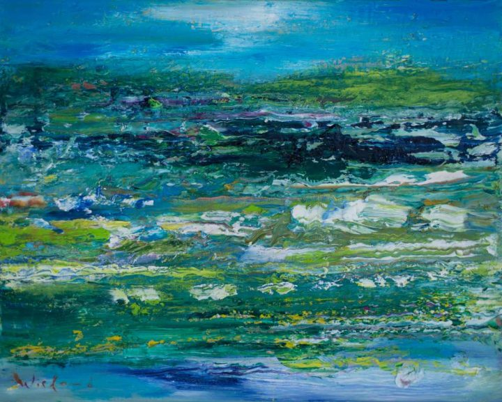 Diese Arbeit bracht der Maler Wieland Richter im Jahr 2018 mit Öl auf Leinwand.