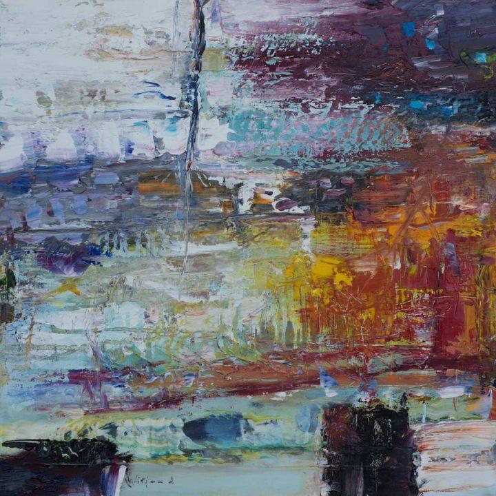 """Öl auf Leinwand des Malers Wieland Richter, der seine Arbeit """"Liebe flackert"""" 2020 malte."""