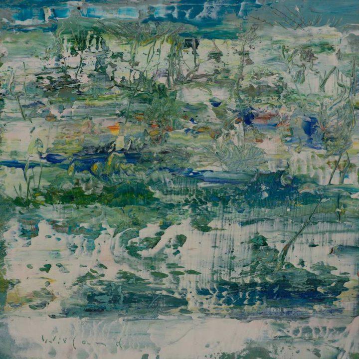 """Arbeit """"Schnee im Frühjahr"""" des Malers Wieland Richter, die er mit Öl auf Leinwand brachte."""
