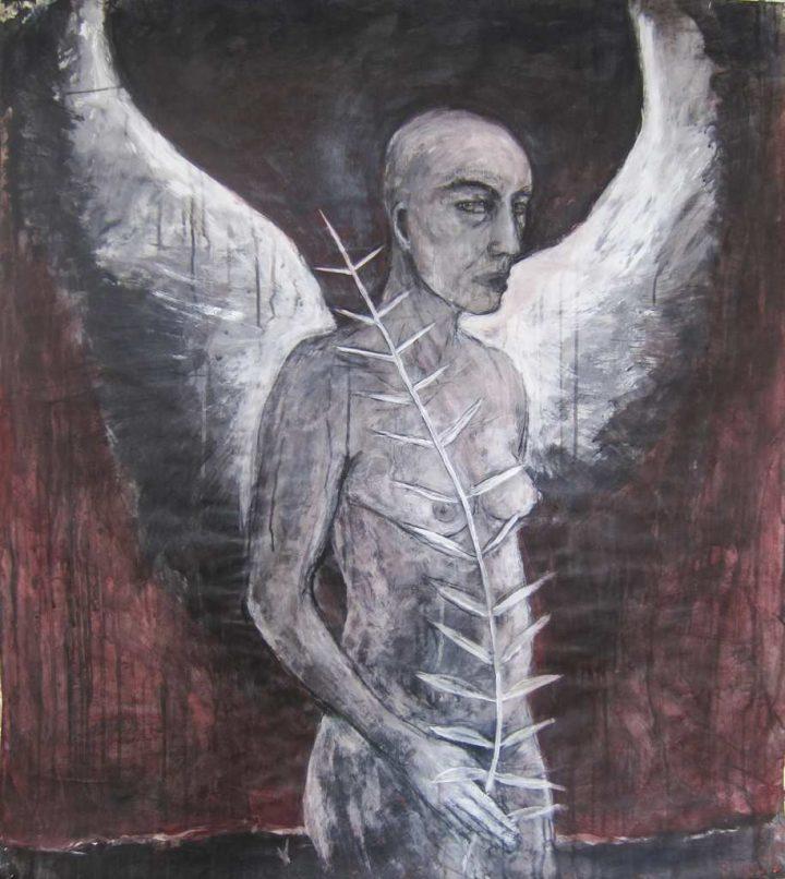 """Mit einer Mischtechnik hielt die Künstlerin Angela Hampel den """"Verwandlung"""" auf Papier fest."""
