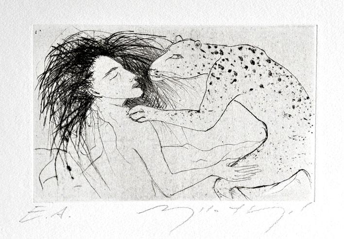 """Die Arbeit """"ohne Titel (Frau mit Jaguar)"""" der Künstlerin Angela Hampel ist eine Radierung auf Büttenpapier."""