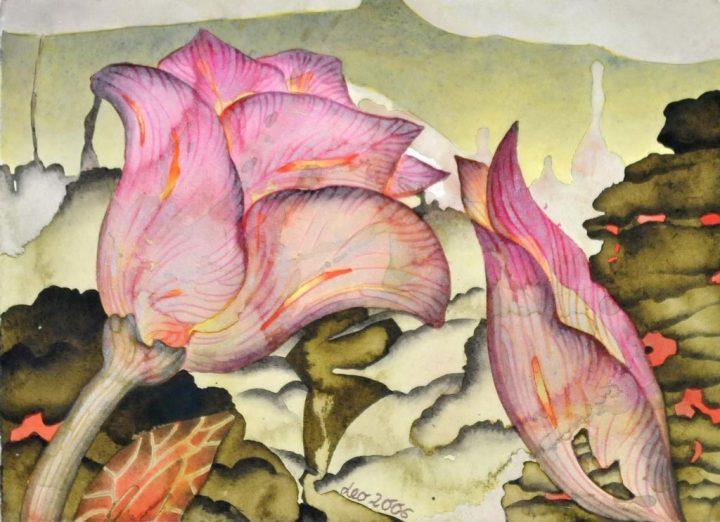 "Aquarell ""Zwei Blüten"" der Malerin Leonore Adler"