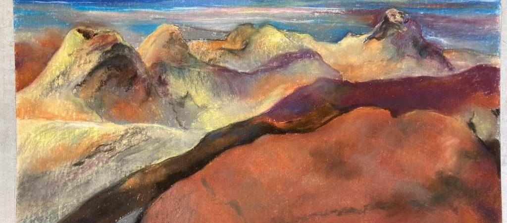 """Ein weiteres Pastell des Malers Leo Lessig. Es trägt den Titel """"Lanzarote - Vulkanlandschaft in Rot""""."""