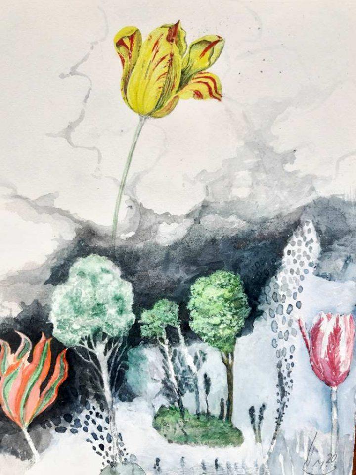 "Ein farbenfrohes Aquarell ""Grüsse aus Amsterdam"" des Künstlers Olaf Pflug."