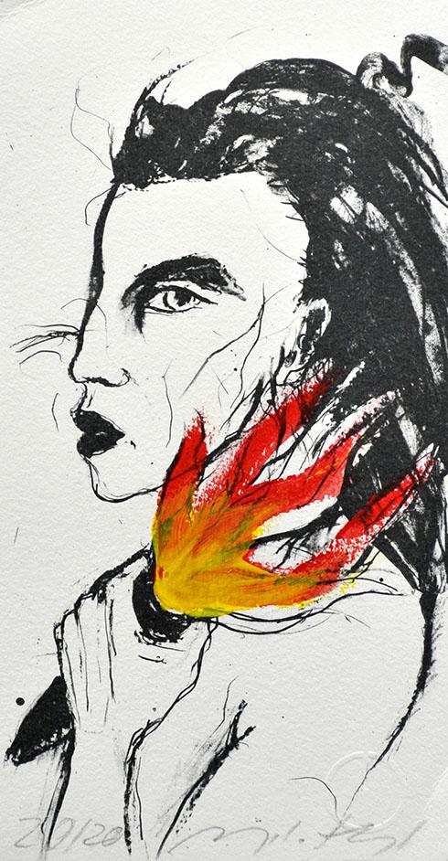 """Diese Arbeit ist eine Algrafie der Künstlerin Angela Hampel. Sie trägt den Titel """"Fackelträgerin""""."""