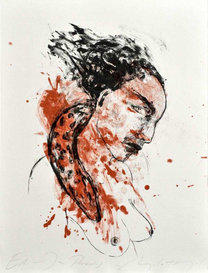 """Die Künstlerin Angela Hampel gab dieser Farbalgrafie den Namen """"Im Paradies""""."""