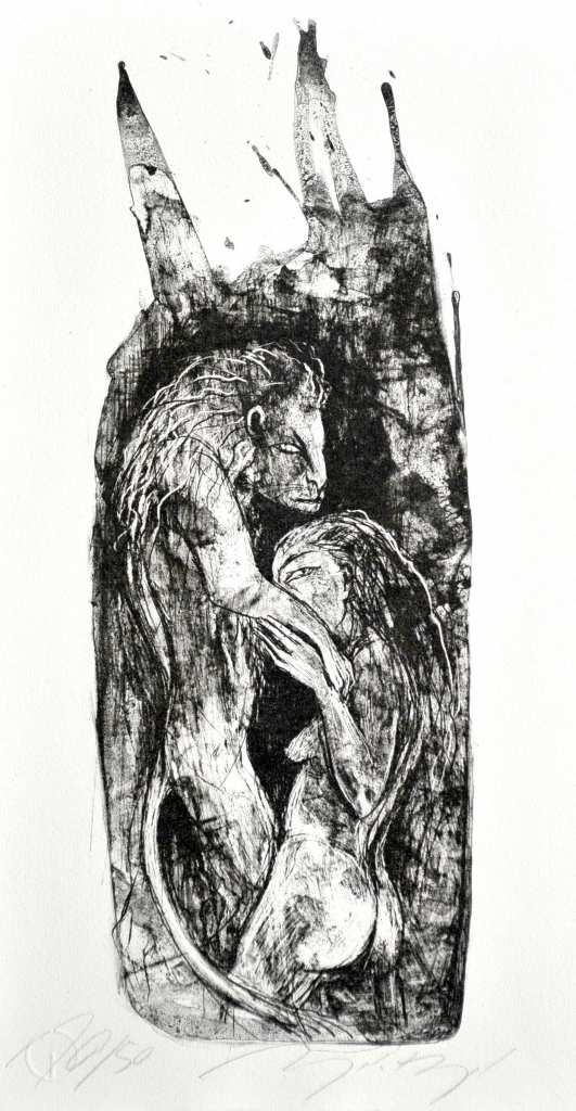 """Eine Arbeit """"ohne Titel (Löwengrube)"""" der Künstlerin Angela Hampel."""