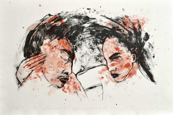 """Farbalgrafie """"Sei dennoch unverzagt"""" der Künstlerin Angela Hampel"""
