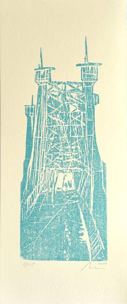 """Die Arbeit """"Blaues Wunder"""" ist ein Holzschnitt des Künstlers Michael Klose aus dem Jahr 2019."""