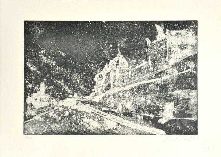 """Die Arbeit """"Brühlsche Terrasse"""" von Michael Klose ist eine Aquatintradierung und im Jahr 2020 entstanden."""