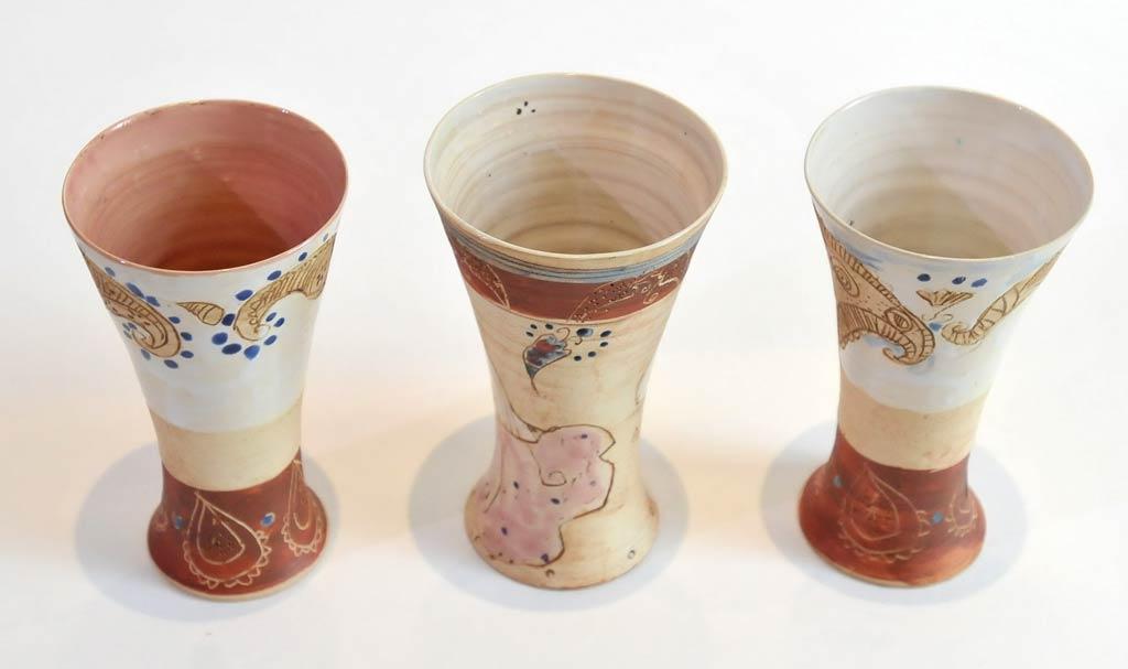 signierte, Weinkelche aus Keramik der Künstlerin Michele Cyranka