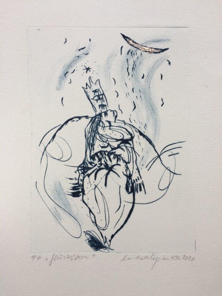 """""""Glücksstern"""" ist eine Radierung der Künstlerin Michele Cyranka."""