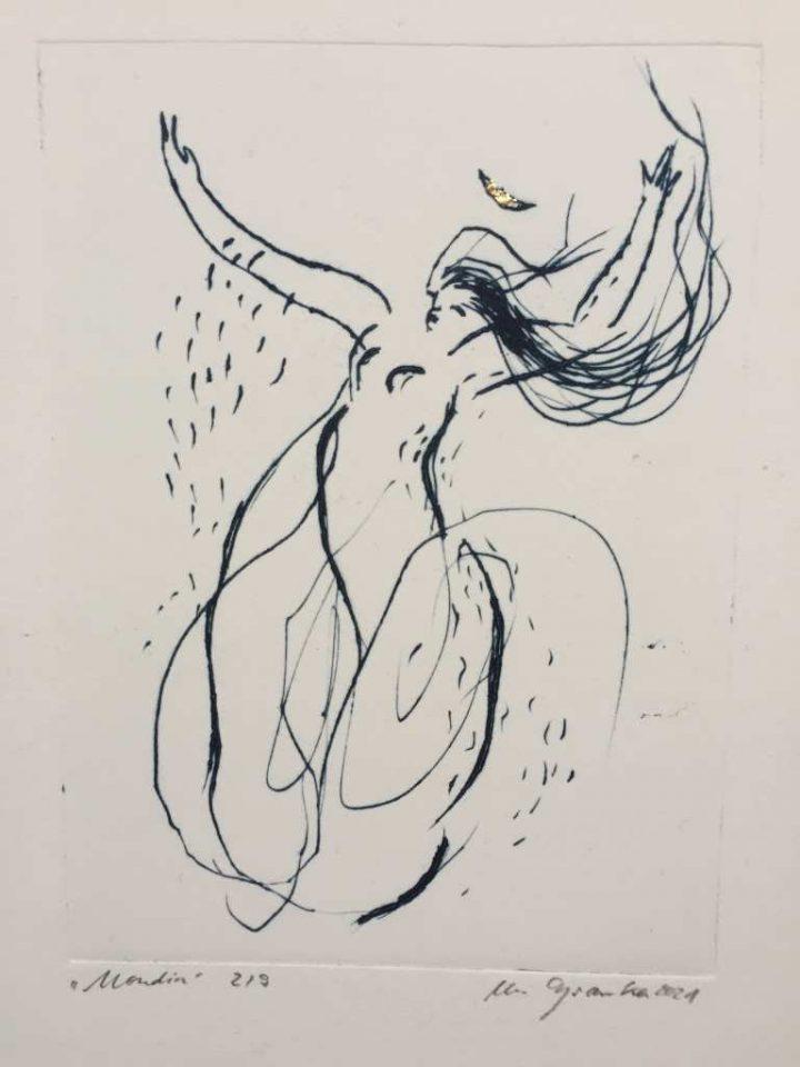 """Die Radierung """"Mondin"""" ist eine Arbeit der Künstlerin Michele Cyranka von 2021."""