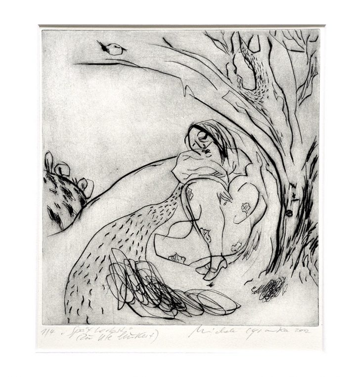 Kaltnadelradierung der Künstlerin Michele Cyranka in Bezug auf Texte von Ute Leukert.
