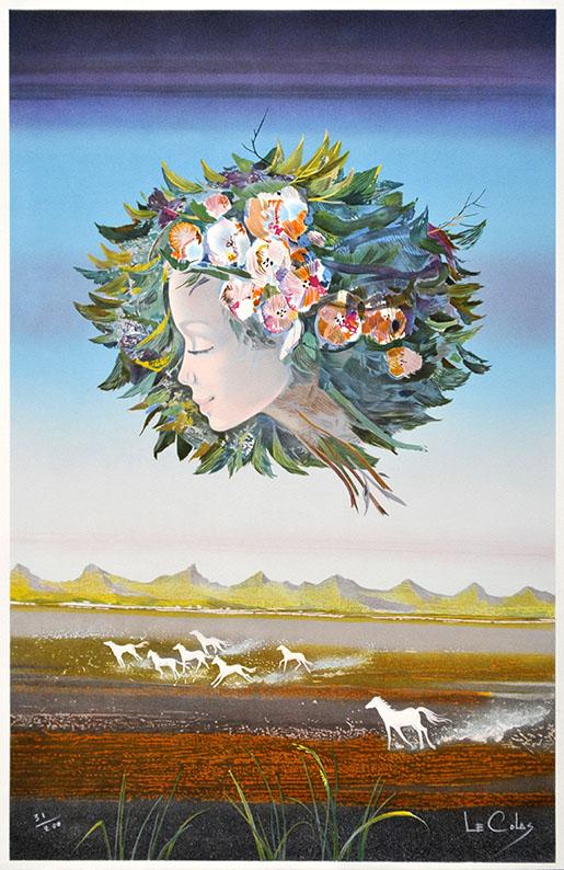 """PDer Künstler Pierre le Colas schuf die Farblithographie """"La Visage Bouquet""""."""