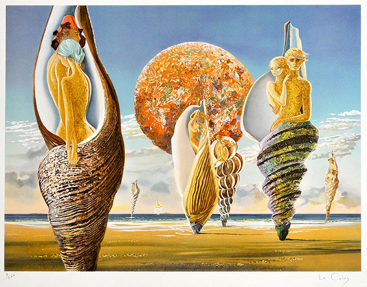"""Die Arbeit """"Les Guetteurs"""" ist eine Farblithographie des Künstlers Pierre le Colas."""
