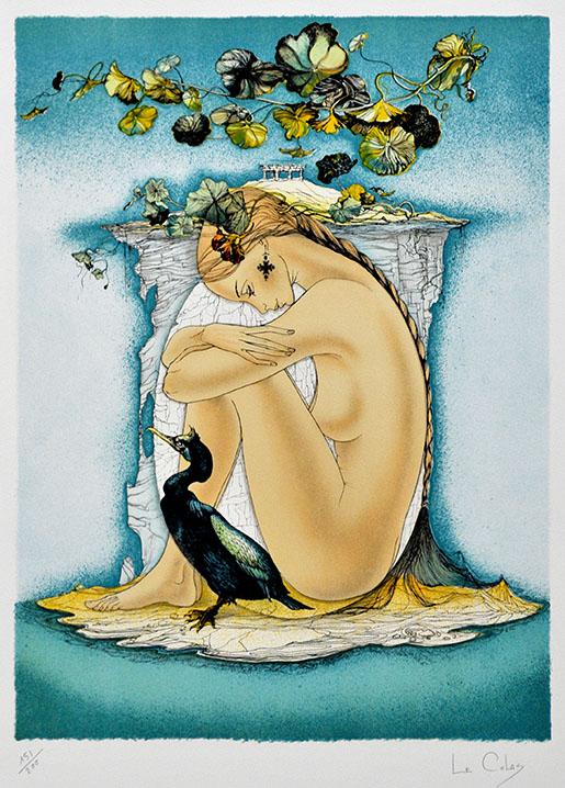 """Der Künstler pierre le Colas gestaltete seine Arbeit """"Nu au Cormoran"""" als Farblithographie."""