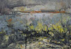 """Ölbild """"Landschaft auf Poel 1"""" des Künstlers Reinhard Springer aus dem Jahr 2009, Öl auf Leinwand"""