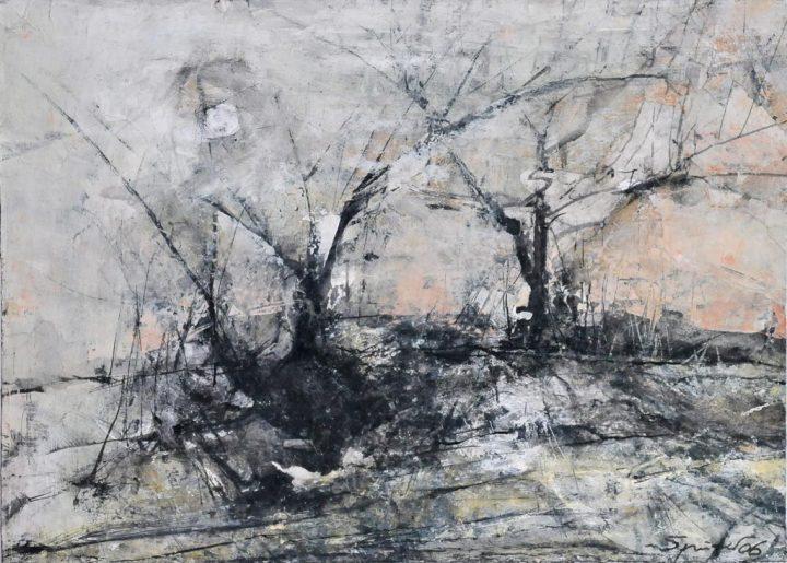 """Mischtechnik auf Papier """"Hiddenseelandschaft #31"""" von Reinhard Springer"""