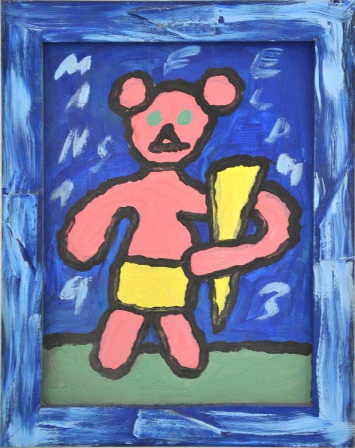 """Das Werk """"Die Wandlung des Teddybären"""" von Ruchard Mansfeld aus dem Jahr 1993 wurde von ihm mit Acryl auf Pappe gemalt."""