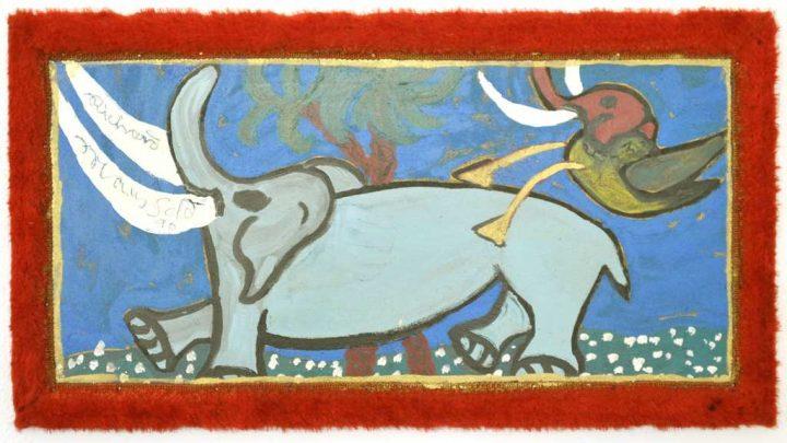 """Im Jahr 1990 malte Richard Mansfeld """"Fantifo und Gettifant"""" mit Acryl auf Spanplatte."""