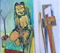 """""""Juli mit Toilette und Besen"""" ist ein Werk des Künstlers Robert Finke"""