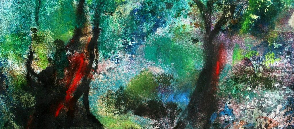 """Der Maler Roger Bonnard erschuf 2016 mit Hilfe von Mischtechnik auf Papier sein Werk """"An der Ilm"""""""